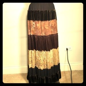 BCBGMaxazria Boho Gypsy Tiered Chiffon Maxi Skirt
